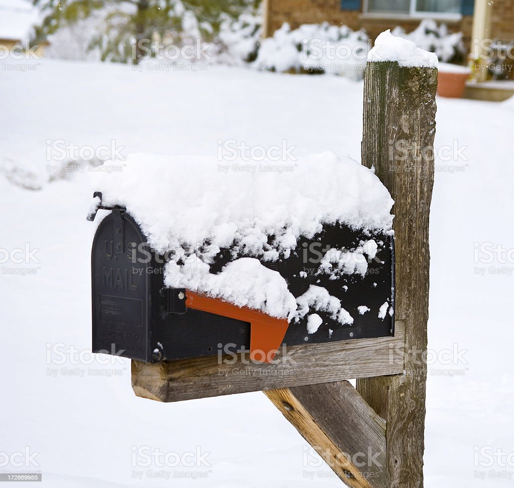 snow covered mailbox royalty-free stock photo