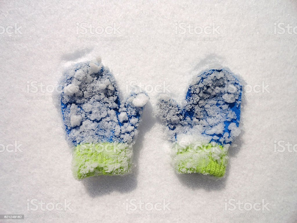 Snow Covered Mittens stock photo
