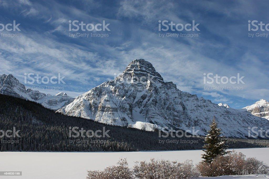 Snow covered mount Chephren under a blue sky stock photo