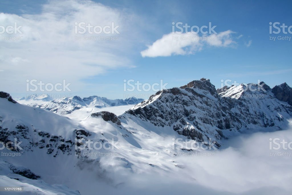 Snow covered Mount Titlis stock photo