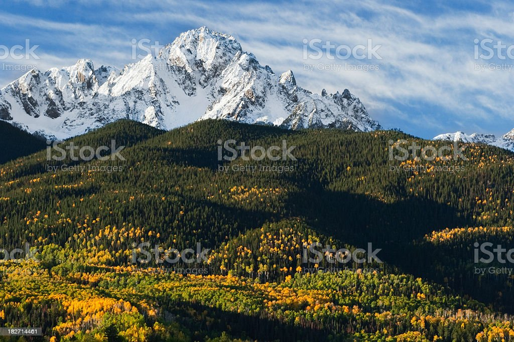 Snow Covered Mountain and Autumn Foliage royalty-free stock photo