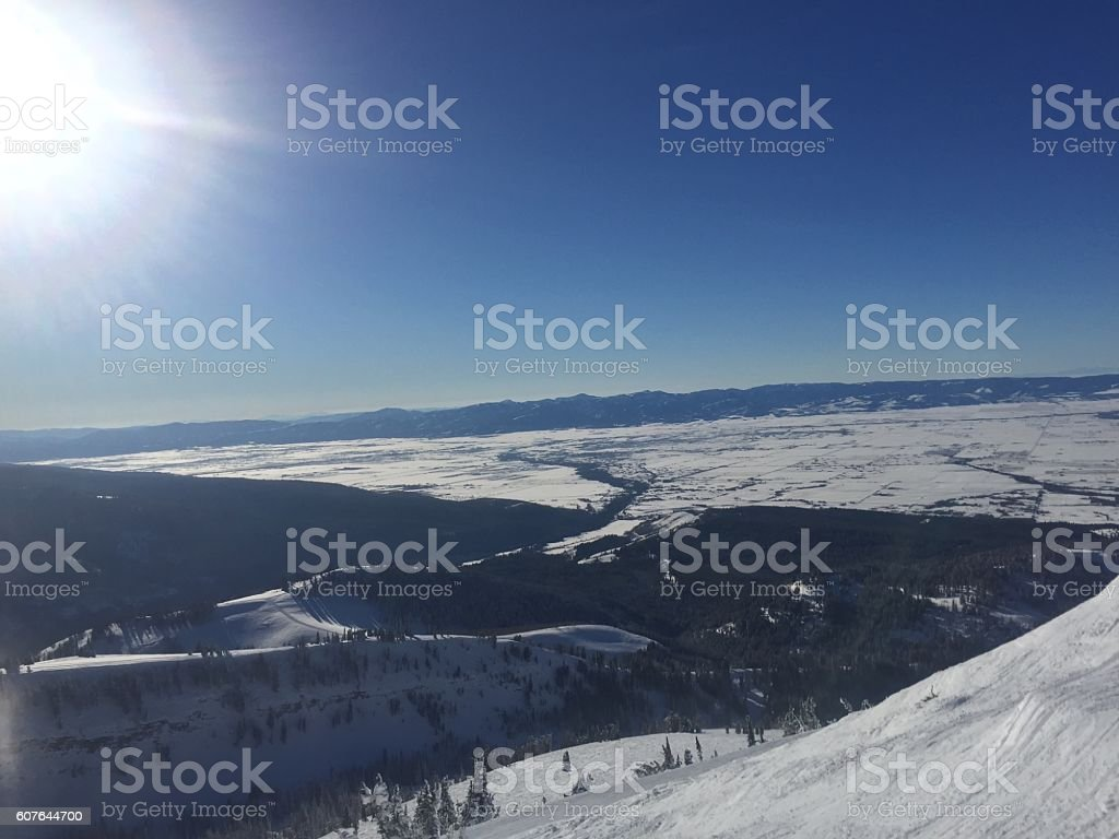 snow covered mountain and trees stock photo