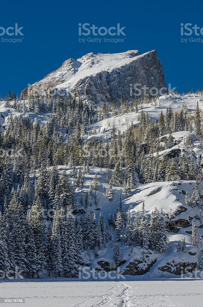Snow Covered Mountain in Colorado Wilderness stock photo