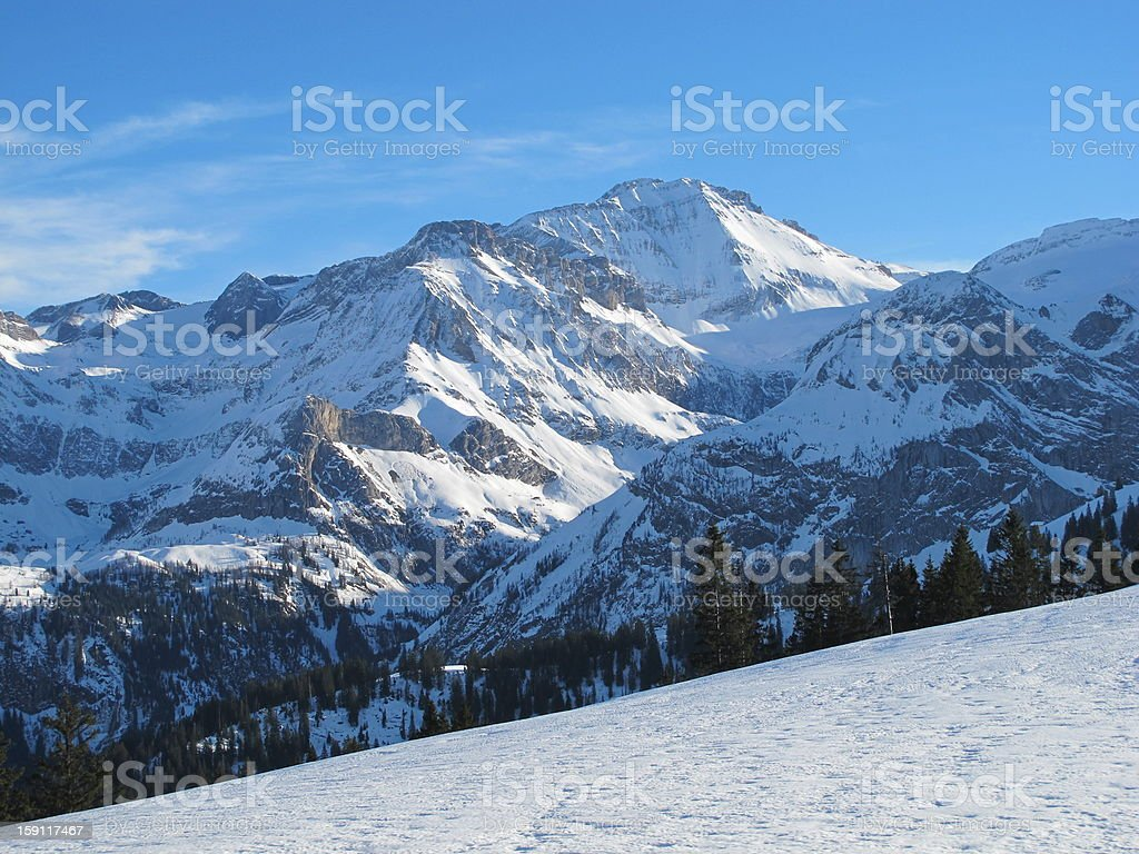 Snow Covered Mountain In The Saanenland royalty-free stock photo