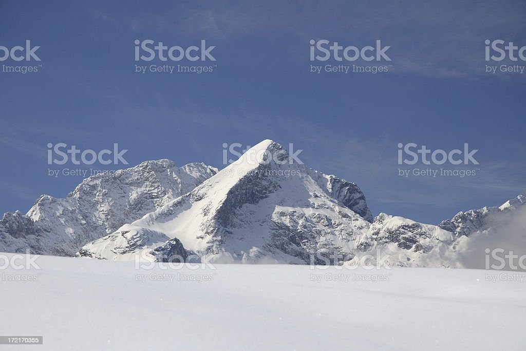 Snow Covered Mountain Peak in Winter royalty-free stock photo