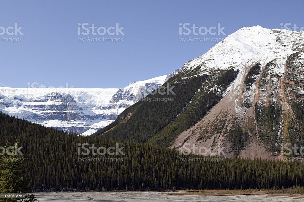 Snow covered mountain peaks and forests along icefield parkway, Canada stock photo
