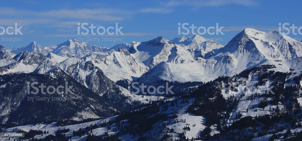 Snow covered mountain peaks in the Bernese Oberland stock photo