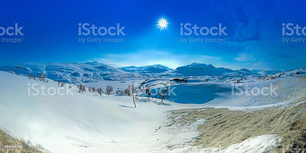 Snow covered mountain stock photo