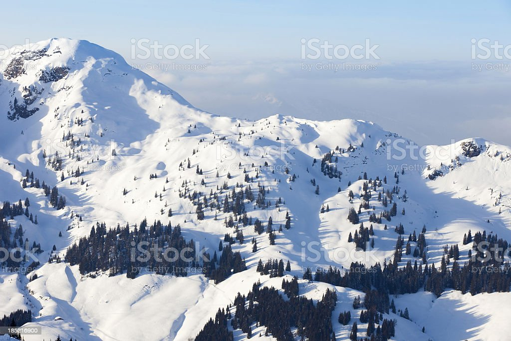 snow covered mountain range in the Austrian Alps stock photo