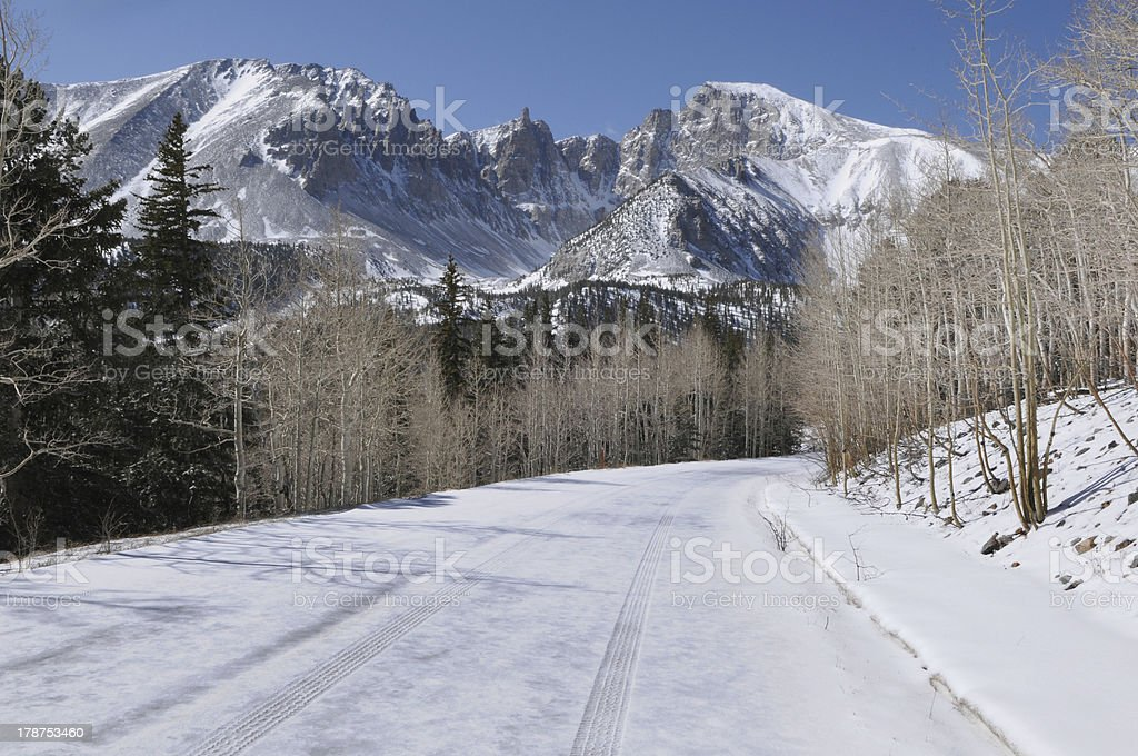 Snow Covered Mountain Road royalty-free stock photo