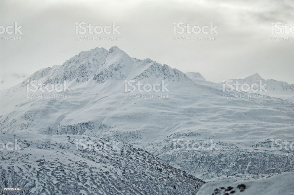 Snow Covered Mountains – Alaska stock photo