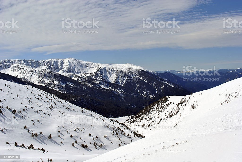 Snow covered mountains in Andorra royalty-free stock photo