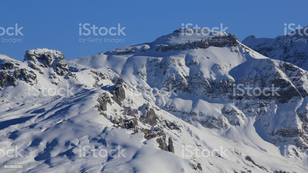 Snow covered mountains in Glarus Canton stock photo