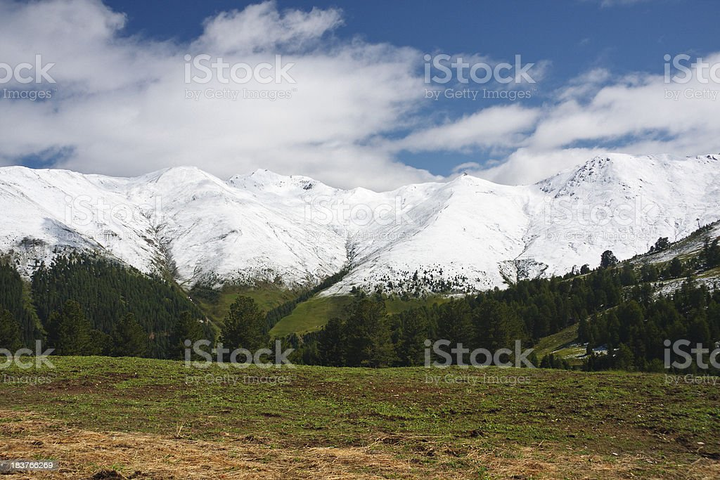 Snow Covered Mountains In Summer royalty-free stock photo
