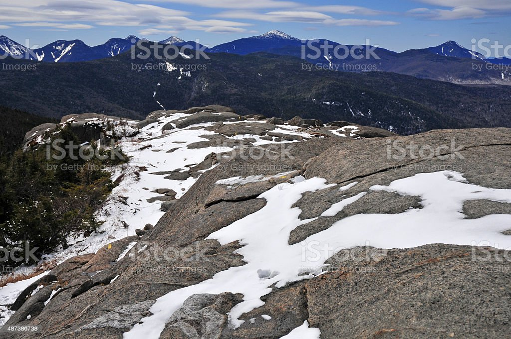Snow covered mountains in the Adirondacks, New York stock photo