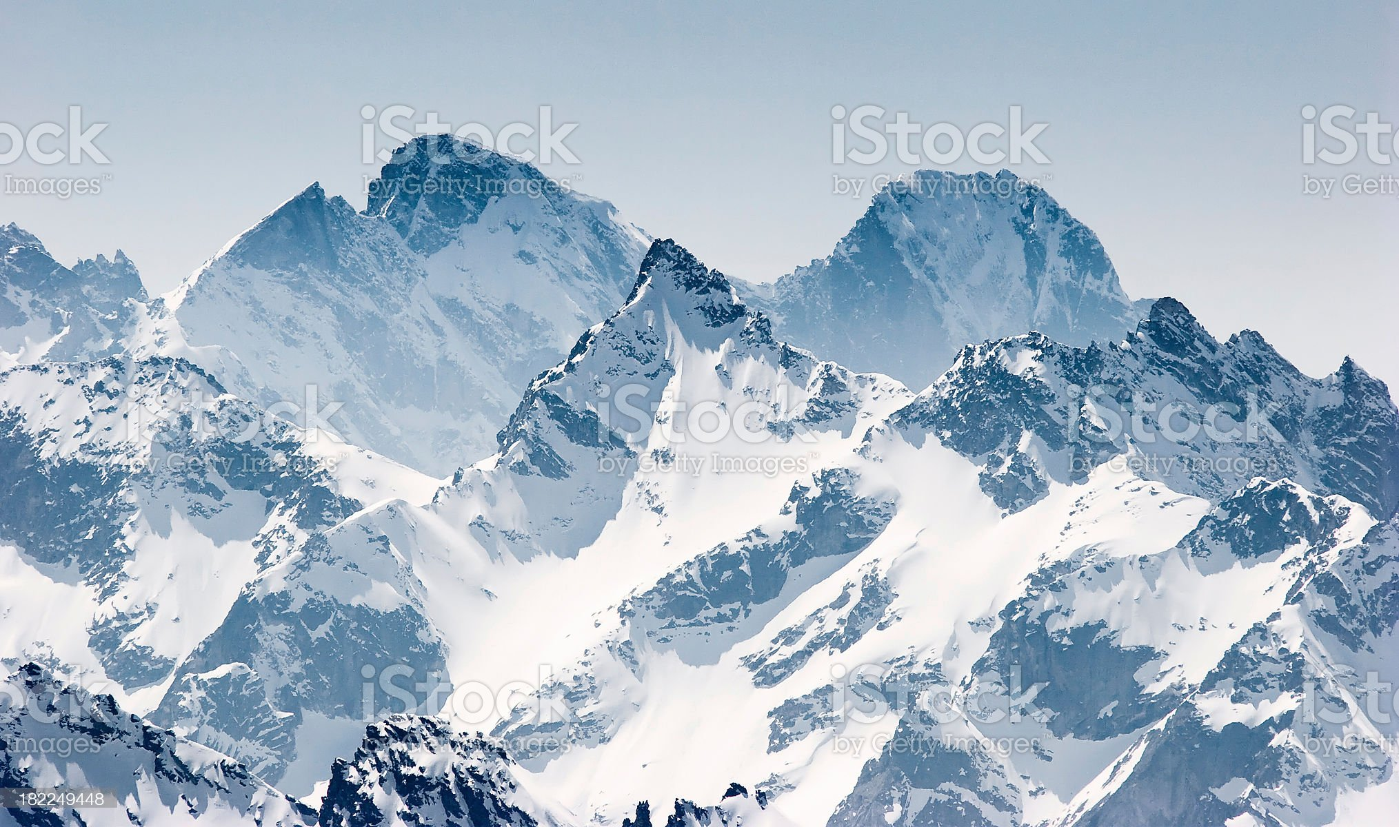 Snow covered mountains in the Alps royalty-free stock photo