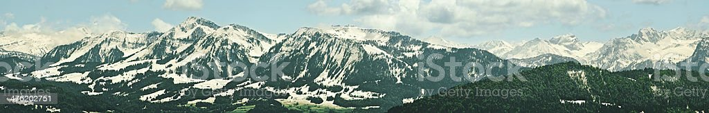 snow covered mountains in the alps stock photo