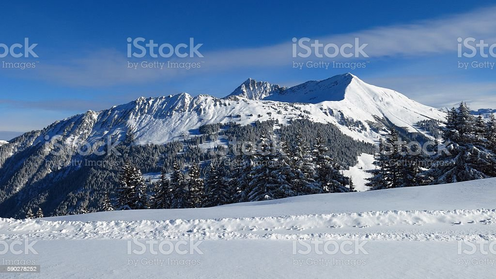 Snow covered mountains Mt Lauenenhorn and Mt Gifer stock photo