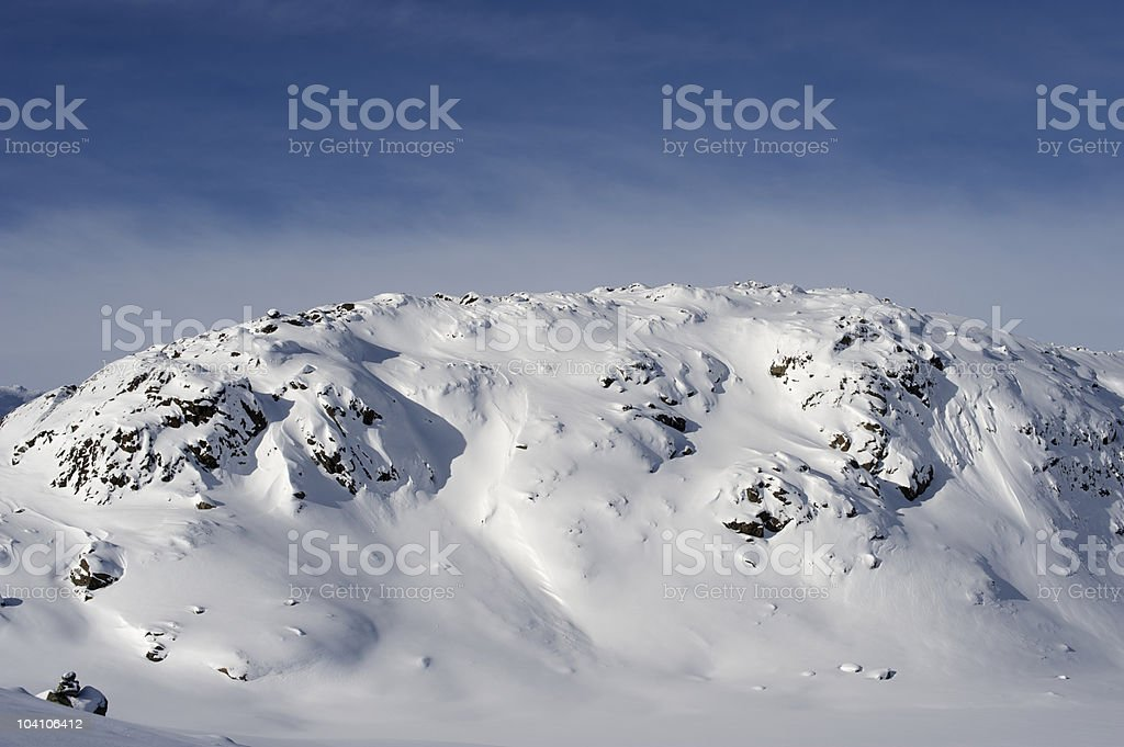 Snow covered mountains of Jotunheimen National Park in winter stock photo