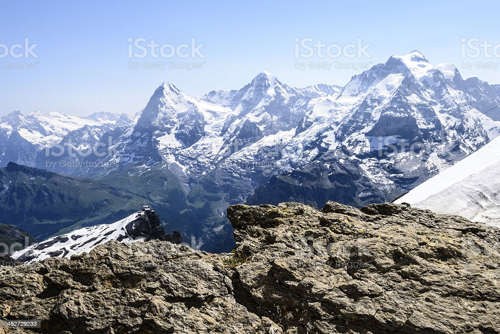 Snow covered mountains of the Swiss Alps stock photo