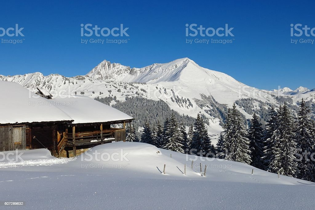 Snow covered Mt Lauenenhorn stock photo