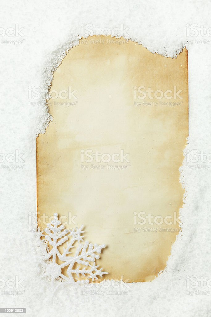 Snow covered paper royalty-free stock photo