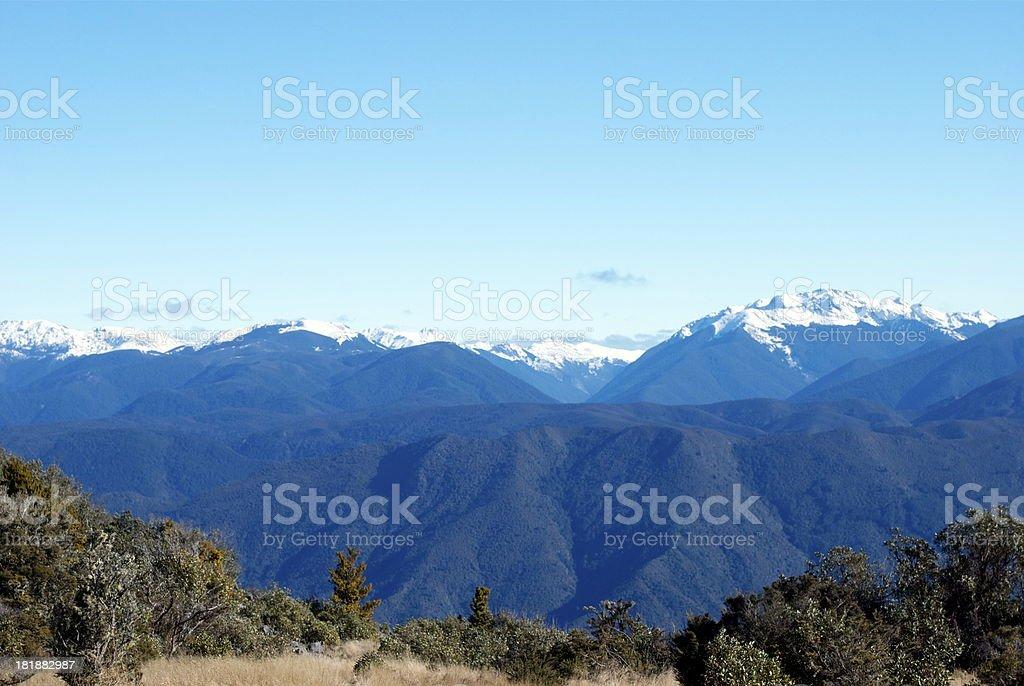 Snow Covered Ranges, The Kahurangi National Park, New Zealand stock photo