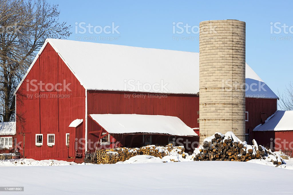 Snow Covered Red Barn With Stacked Winter Wood royalty-free stock photo