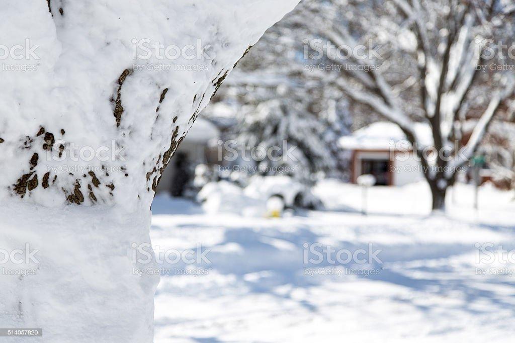 Snow covered residential neighborhood stock photo
