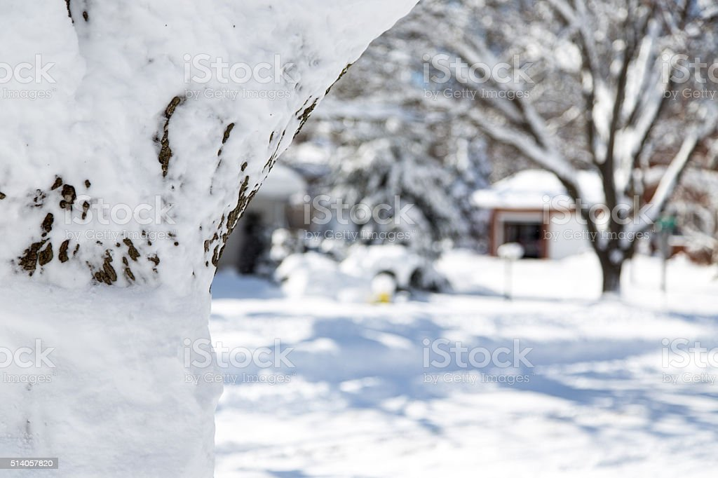 Snow covered residential neighborhood stock photo
