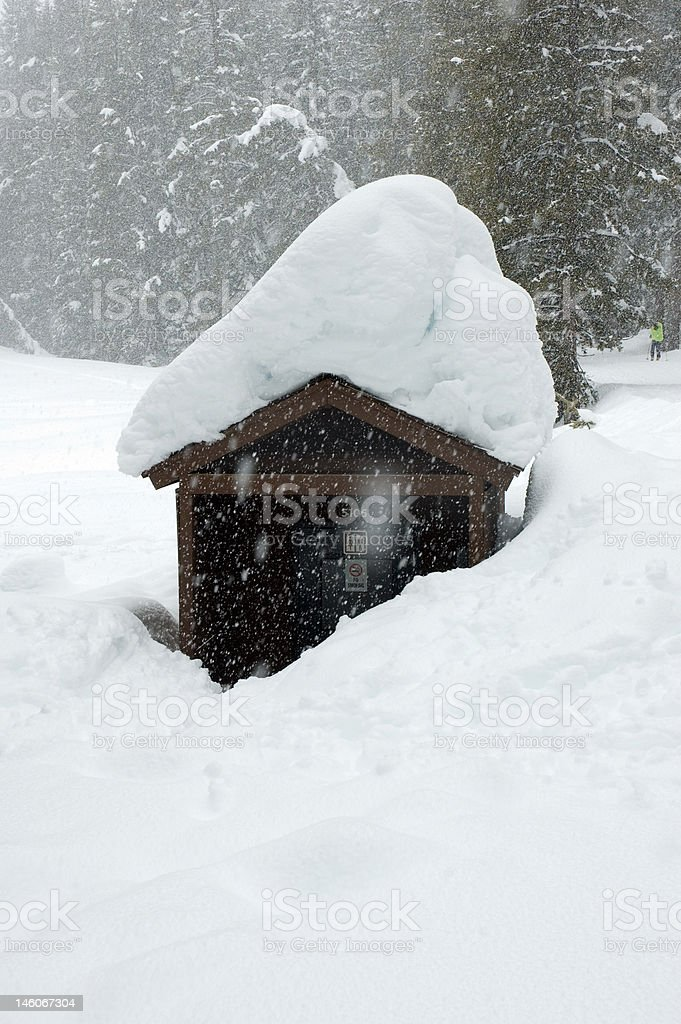 Snow Covered Restroom stock photo