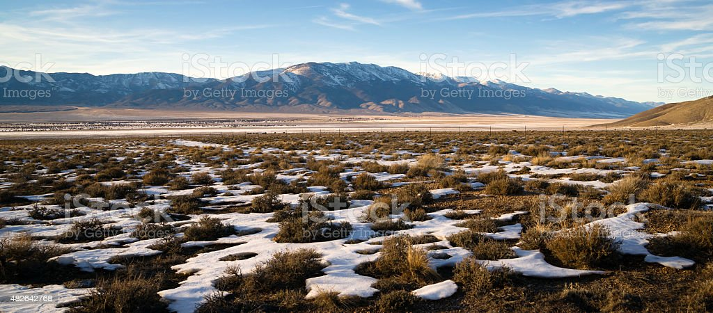 Snow Covered Sage Brush Mountain Landscape Surrounding Great Basin stock photo