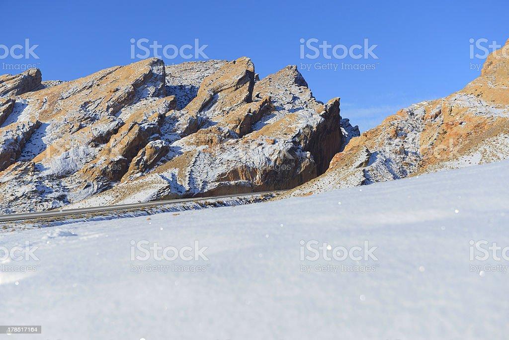 Snow covered San Rafael Reef in the Utah desert stock photo