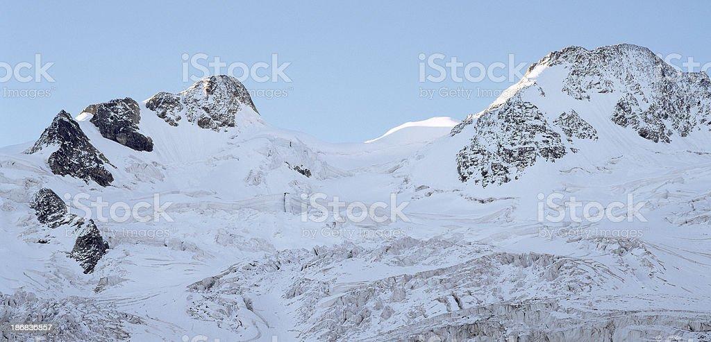 Snow covered Sella Mountains, Switzerland. stock photo