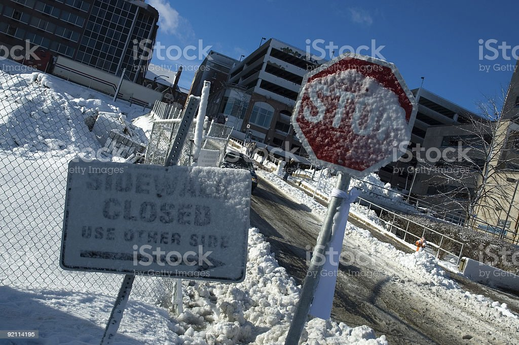 Snow covered signs in Halifax stock photo