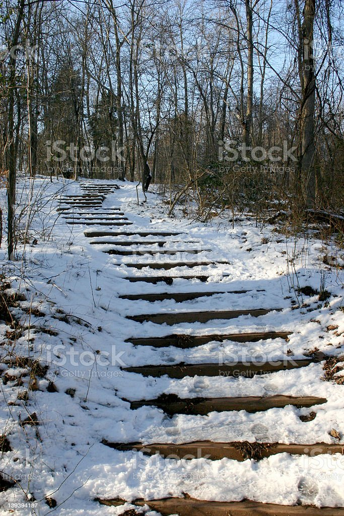 Snow covered stairwell royalty-free stock photo
