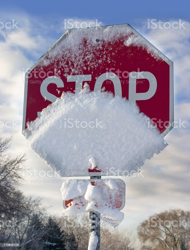 snow covered stop stock photo