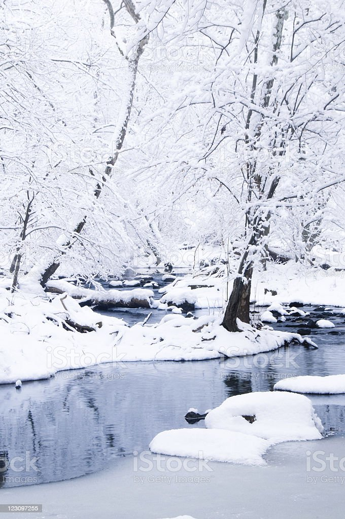 Snow covered stream banks royalty-free stock photo