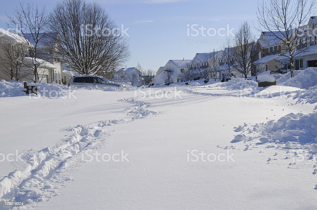 Snow covered street royalty-free stock photo