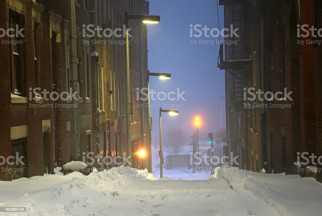 Snow Covered Urban Road royalty-free stock photo