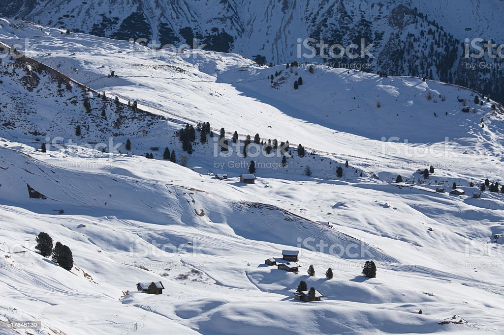 Snow covered valley in Dolomite Alps, Italy stock photo