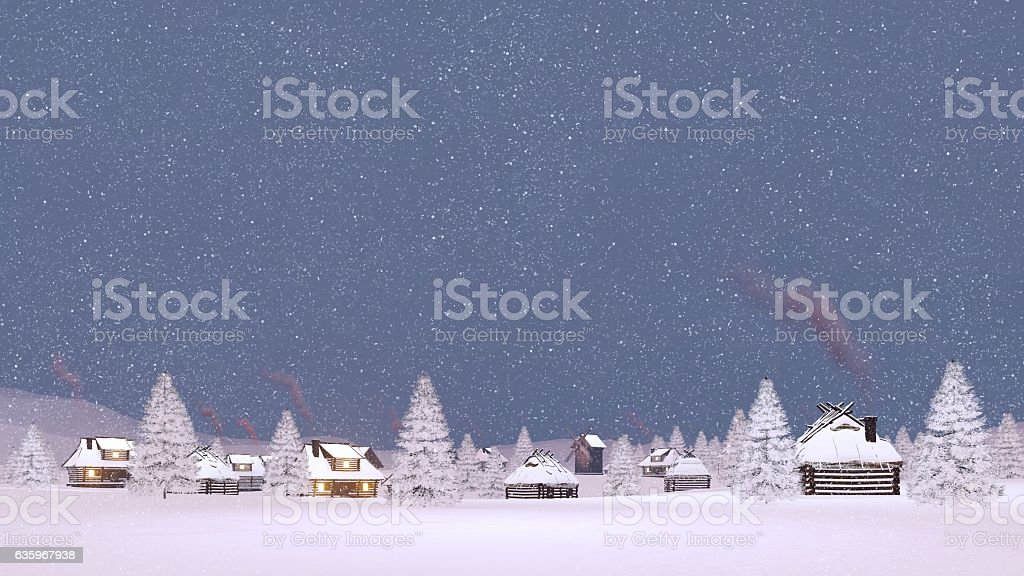 Snow covered village at snowfall evening stock photo