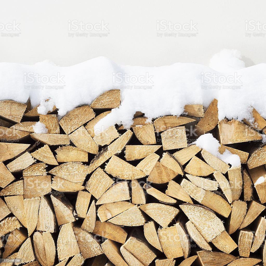 snow covered winter firewood woodpile stack royalty-free stock photo