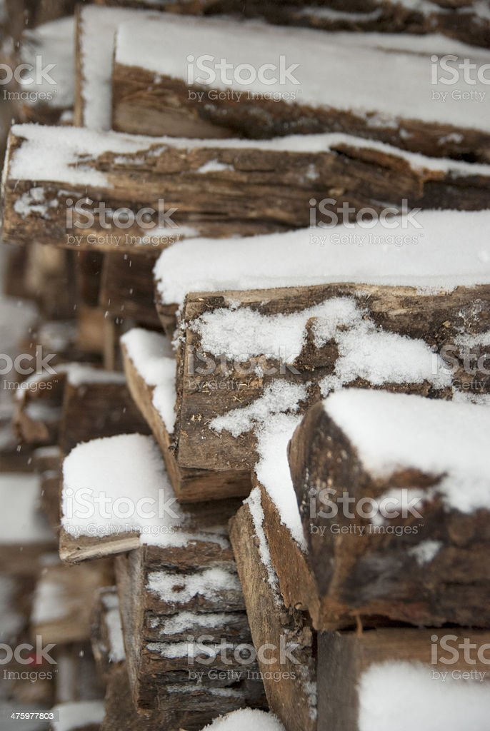 Snow Covered Woodpile stock photo