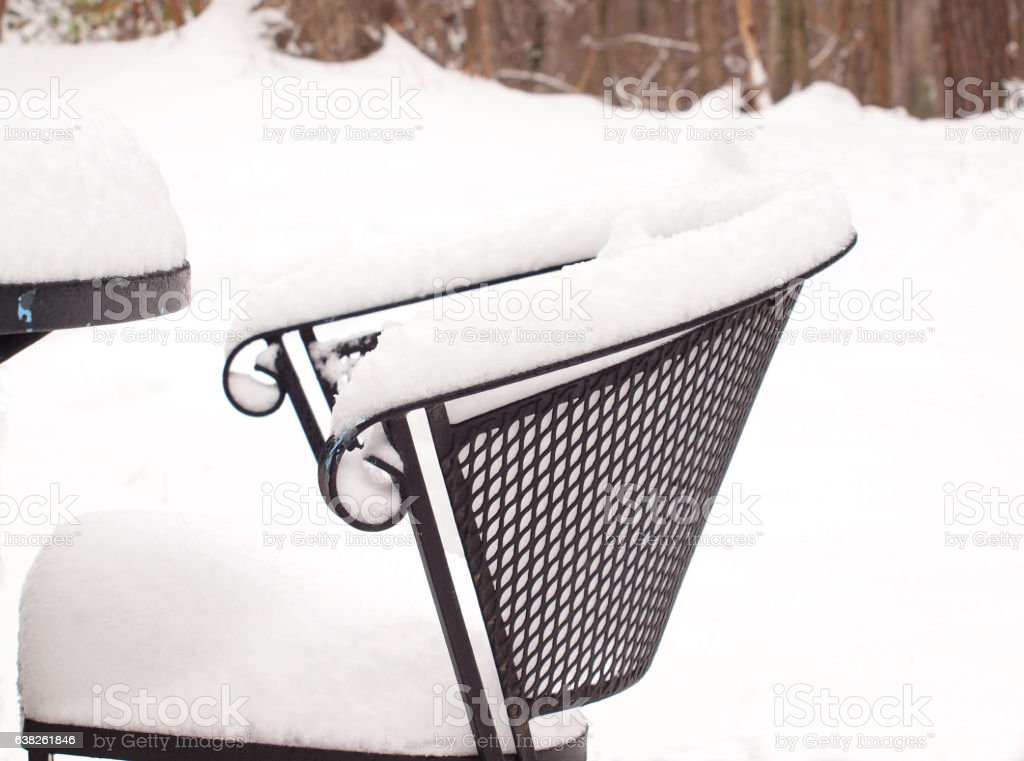 snow covered wrought iron chair 1423 aa
