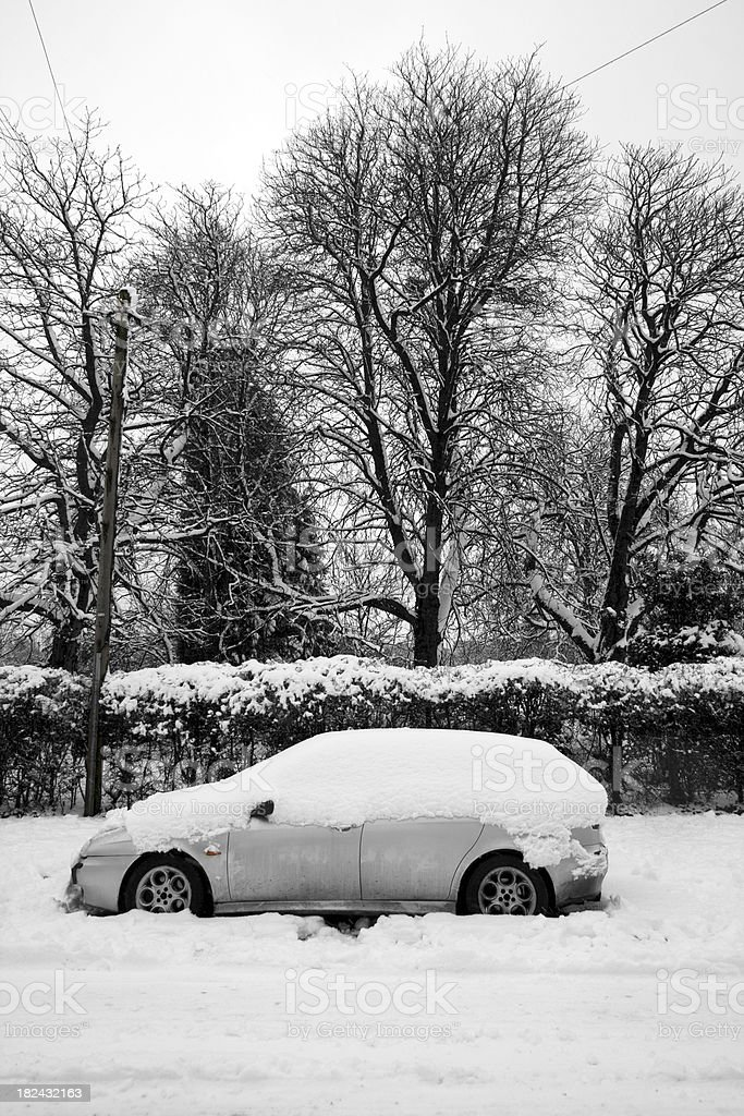 Snow covering road, trees and car royalty-free stock photo