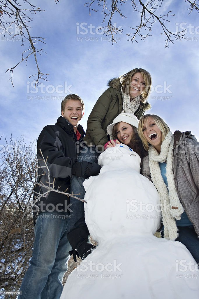 Snow Day Fun with Snowman stock photo