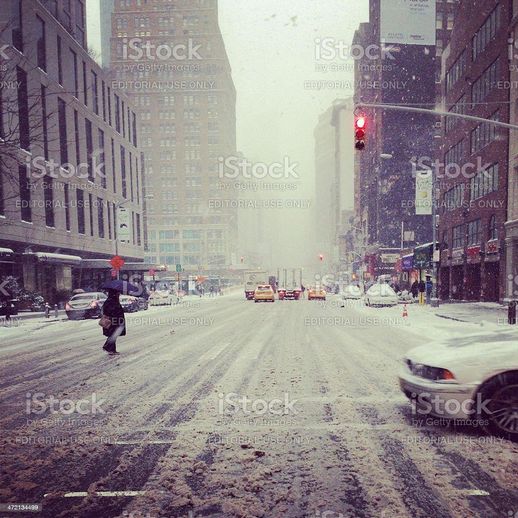 Snow Day in New York City stock photo