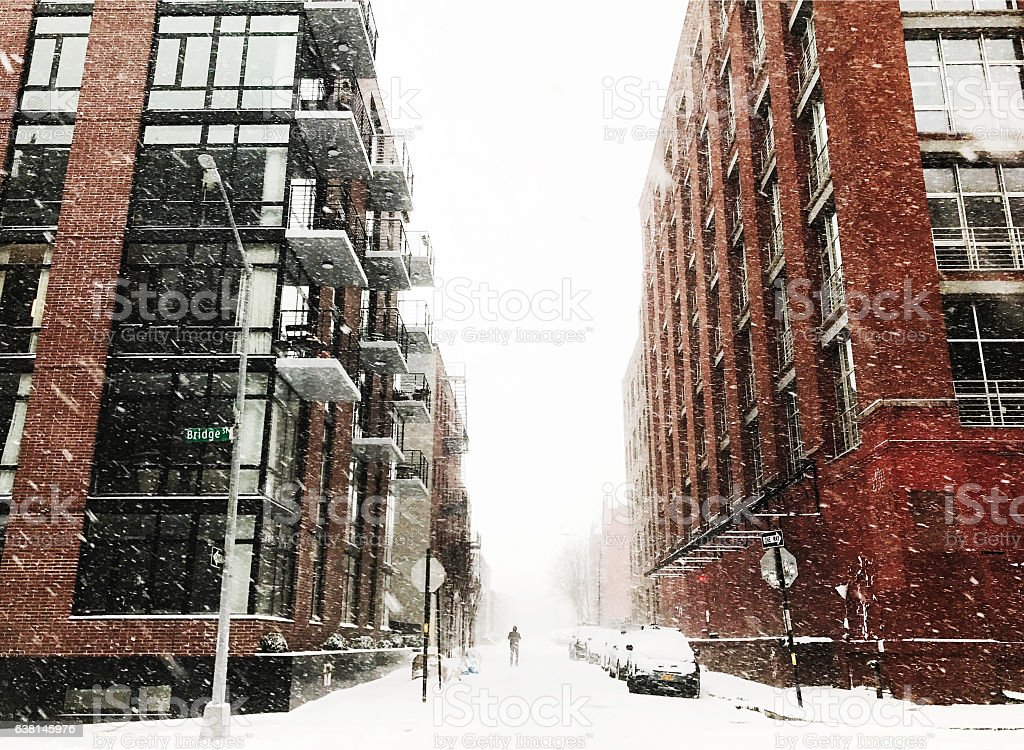 Snow Day in New York City stock photo