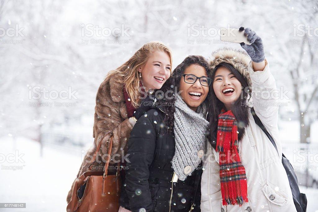 Snow day selfies stock photo